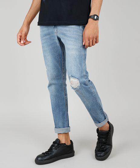 Calca-Jeans-Masculina-Slim-com-Rasgos-Azul-Medio-9602632-Azul_Medio_1
