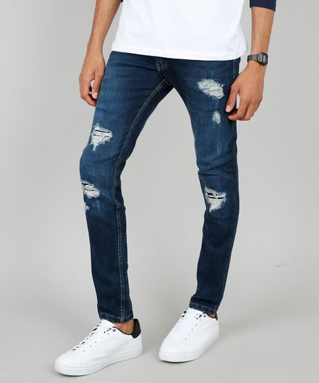 Calca-Jeans-Masculina-Skinny-Destroyed-Azul-Escuro-9532135-Azul_Escuro_1