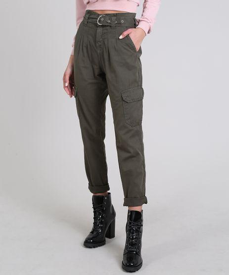 Calca-de-Sarja-Feminina-Jogger-Clochard-Cargo-com-Cinto-Verde-Militar-9594589-Verde_Militar_1