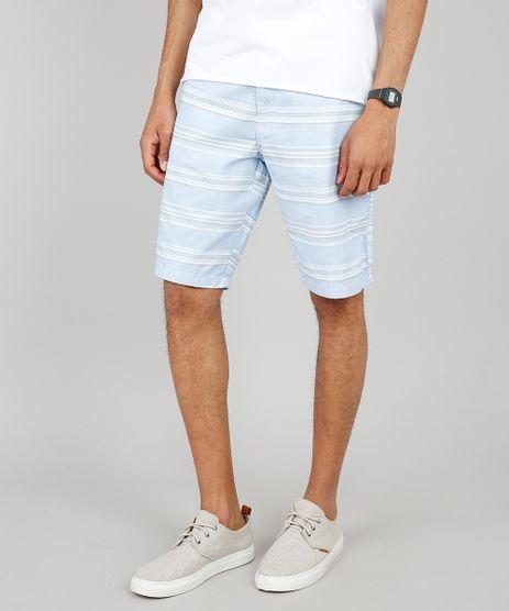 Bermuda-Masculina-Slim-Listrada-com-Cordao-e-Bolsos--Azul-Claro-9486517-Azul_Claro_1