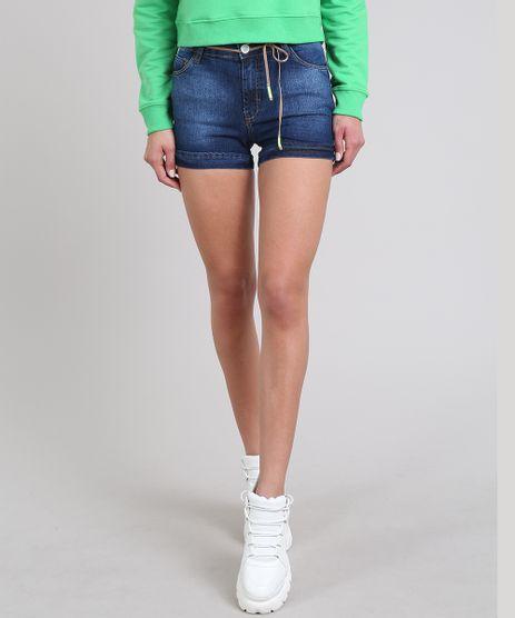 Short-Jeans-Feminino-Reto-Barra-Dobrada-com-Cinto-Azul-Escuro-9606759-Azul_Escuro_1