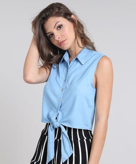 Camisa-Jeans-Feminina-Cropped-com-Amarracao-Sem-Manga-Azul-Claro-9586465-Azul_Claro_1