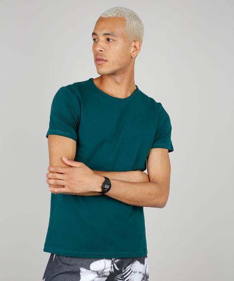 Camiseta-Masculina-Basica-Slim-Fit-Manga-Curta-Gola-Careca-Verde-Escuro-9209153-Verde_Escuro_1