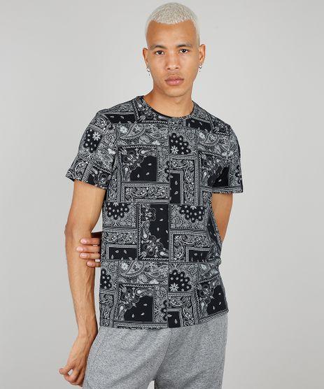 Camiseta-Masculina-Estampada-de-Bandana-Manga-Curta-Gola-Careca-Preta-9662885-Preto_1