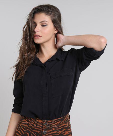 Camisa Feminina com Bolso Manga Longa Preta - cea