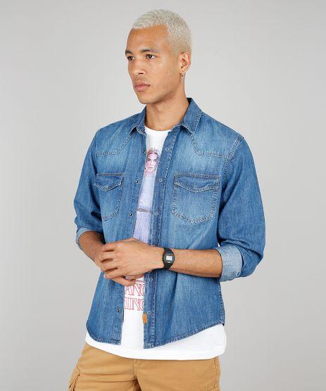 Camisa-Jeans-Masculina-com-Bolsos-Manga-Longa-Azul-Medio-9534145-Azul_Medio_1