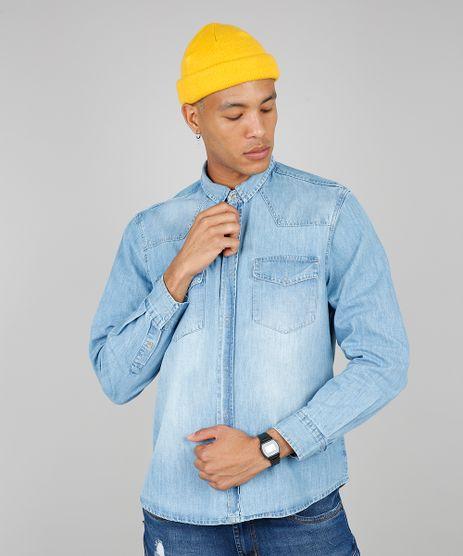Camisa-Jeans-Masculina-com-Bolsos-Manga-Longa-Azul-Claro-9534144-Azul_Claro_1