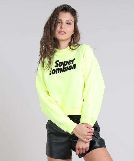 Blusao-Feminino-em-Moletom-com-Estampa--Super-Common--Amarelo-Neon-9459905-Amarelo_Neon_1