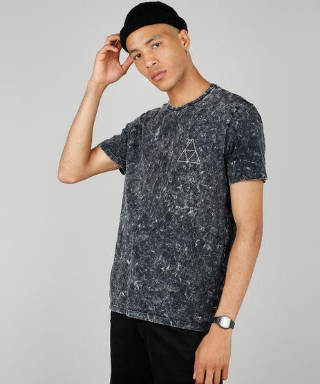 Camiseta-Masculina-Marmorizada-Manga-Curta-Gola-Careca-Preta-9525228-Preto_1