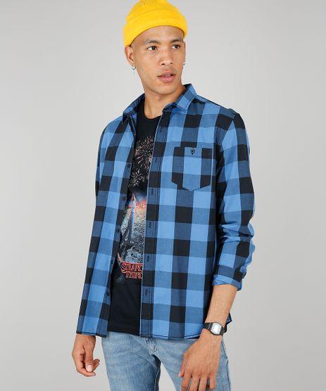Camisa-Masculina-Estampada-Xadrez-com-Bolsos-Manga-Longa-Azul-8448777-Azul_1