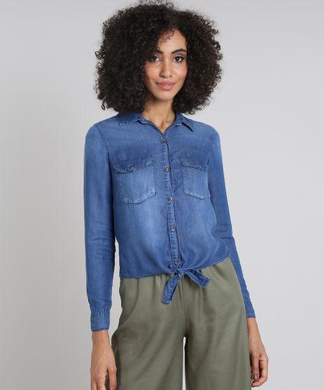 Camisa-Jeans-Feminina-com-Bolsos-e-No-Manga-Longa-Azul-Medio-9594642-Azul_Medio_1