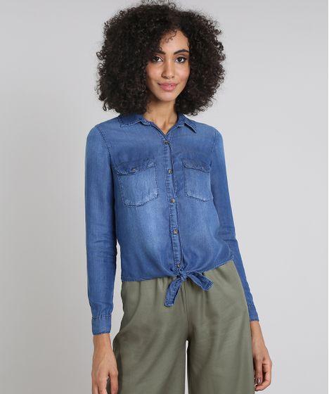 e411bbc4fdf78 Camisa Jeans Feminina com Bolsos e Nó Manga Longa Azul Médio - cea
