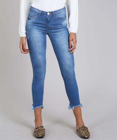 Calca-Jeans-Feminina-Skinny-com-Puidos-Azul-Claro-9594594-Azul_Claro_1
