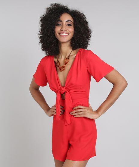Macaquinho-Feminino-com-Amarracao-e-Vazado-Decote-V-Vermelho-9577084-Vermelho_1