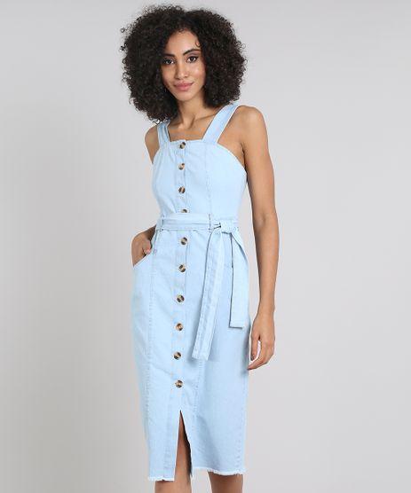 Vestido-Jeans-Feminino-Midi-Barra-Desfiada-com-Botoes-e-Faixa-Azul-Claro-9594629-Azul_Claro_1