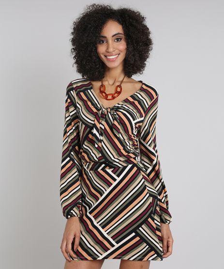 Vestido-Feminino-Estampado-Geometrico-com-Amarracao-Manga-Longa-Decote-V-Preto-9576251-Preto_1
