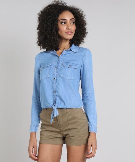 Camisa-Jeans-Feminina-com-Bolsos-e-No-Manga-Longa-Azul-Claro-9594643-Azul_Claro_1
