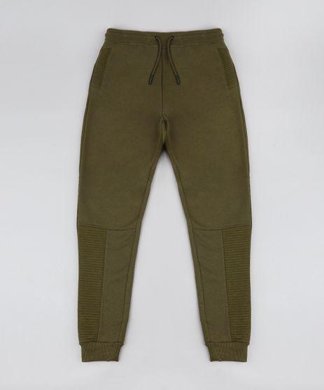 Calca-Infantil-Masculina-em-Moletom-com-Recortes-e-Bolsos-Verde-Militar-9382122-Verde_Militar_1