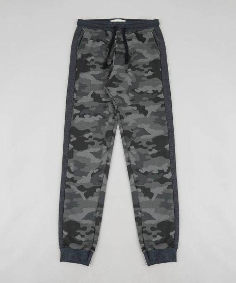 Calca-Infantil-Estampada-Camuflada-em-Moletom-com-Faixa-Lateral-Verde-Militar-9457980-Verde_Militar_1