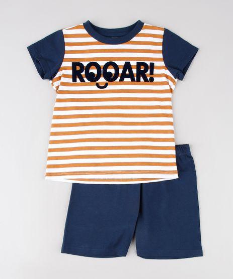 Pijama-Infantil-Listrado--Rooar---Manga-Curta-Off-White-9528123-Off_White_1