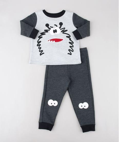 Pijama-Infantil-Monstrinho-em-Moletom-Manga-Longa-Cinza-Mescla-Claro-9528124-Cinza_Mescla_Claro_1