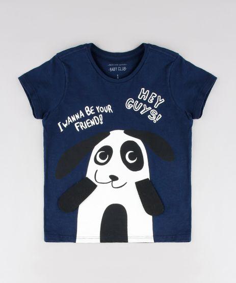 Camiseta-Infantil-com-Estampa-Interativa-Panda-Manga-Curta-Azul-Marinho-9530791-Azul_Marinho_1