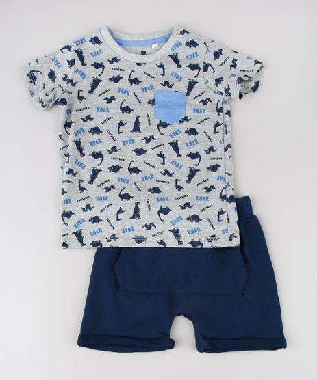 Conjunto-Infantil-de-Camiseta-Estampada-de-Dinossauro-Cinza-Mescla---Short-em-Moletom-Azul-Marinho-9577633-Azul_Marinho_1