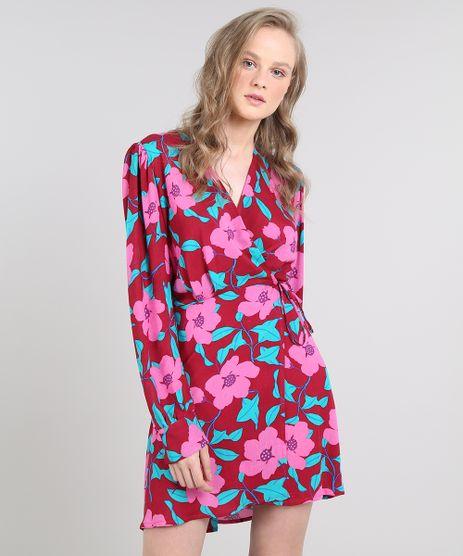 Vestido-Feminino-Curto-Mindset-Envelope-Estampado-Floral-Manga-Longa-Vinho-9645695-Vinho_1