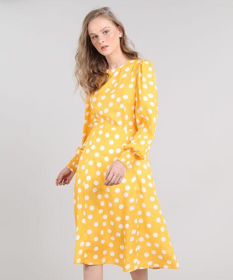 Vestido-Feminino-Midi-Mindset-Estampado-de-Poa-Manga-Longa-Amarelo-9651373-Amarelo_1