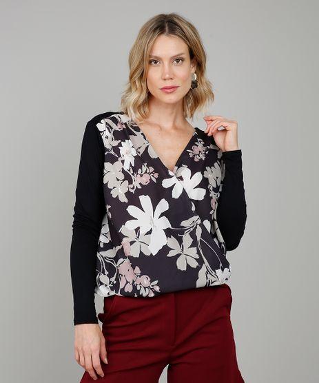 Blusa-Feminina-Estampada-Floral-com-Transpasse-Decote-V-com-Alcas-Largas-Preta-9574004-Preto_1