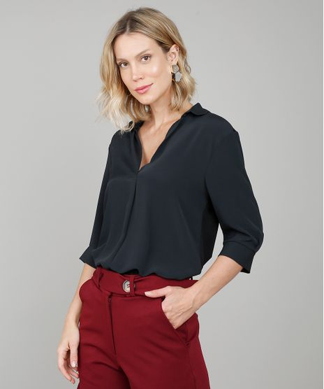 Camisa-Feminina-Ampla-Manga-3-4-Gola-Esporte--Preta-9577380-Preto_1