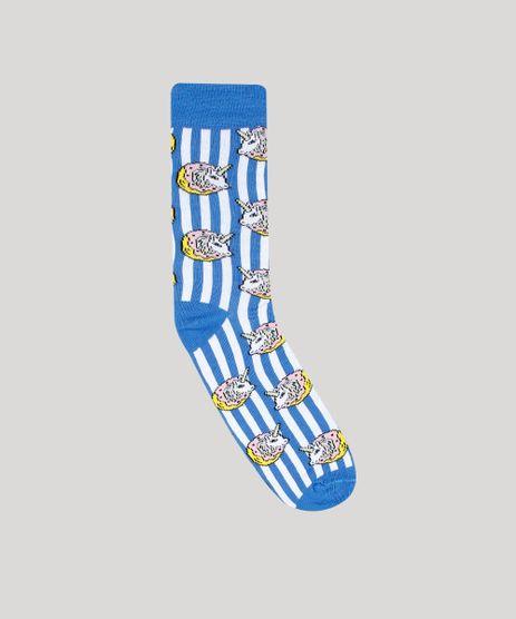 Meia-Masculina-Cano-Alto-Divertida-Unicornio-Azul-9560944-Azul_1