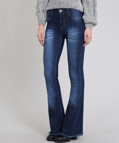 Calca-Jeans-Feminina-Sawary-Flare-com-Barra-Desfiada-Azul-Escuro-9619267-Azul_Escuro_1