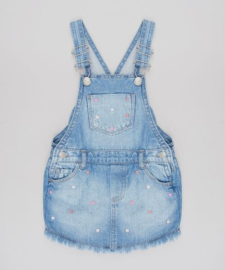 Jardineira-Jeans-Infantil-com-Bordado-Barra-Desfiada-Azul-Medio-9586747-Azul_Medio_1