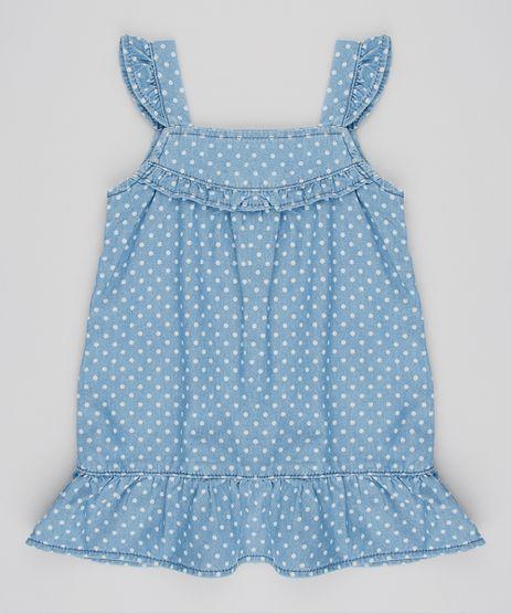 Vestido-Jeans-Infantil-Estampado-de-Poa-com-Babados-Sem-Manga-Azul-Medio-9561507-Azul_Medio_1