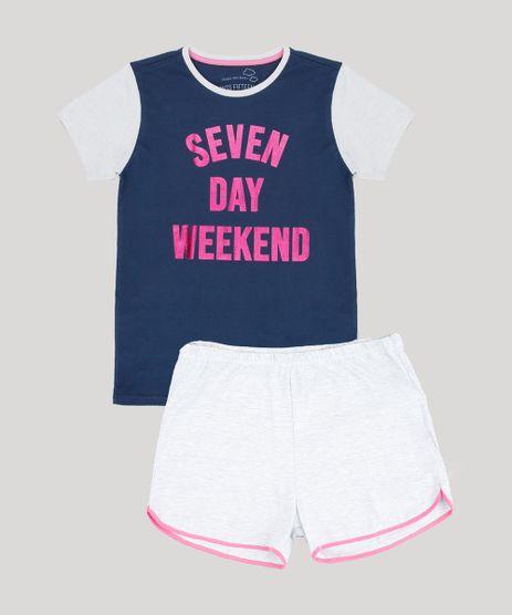 Pijama-Infantil--Seven-Day-Weekend--com-Glitter-Manga-Curta-Azul-Marinho-9528344-Azul_Marinho_1