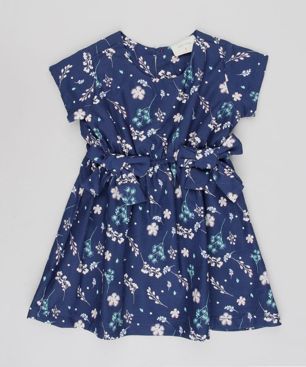 e39d3f56d Vestido Infantil Estampado Floral com Laços Manga Curta Azul Marinho ...