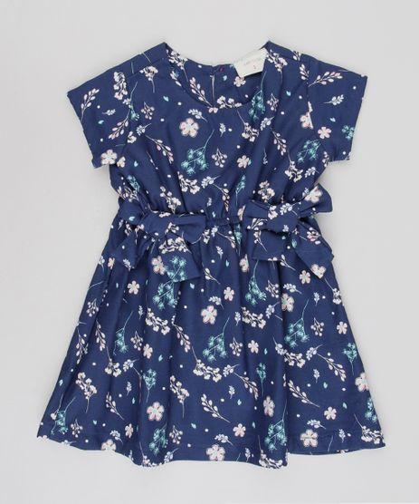 Vestido-Infantil-Estampado-Floral-com-Lacos-Manga-Curta-Azul-Marinho-9550586-Azul_Marinho_1