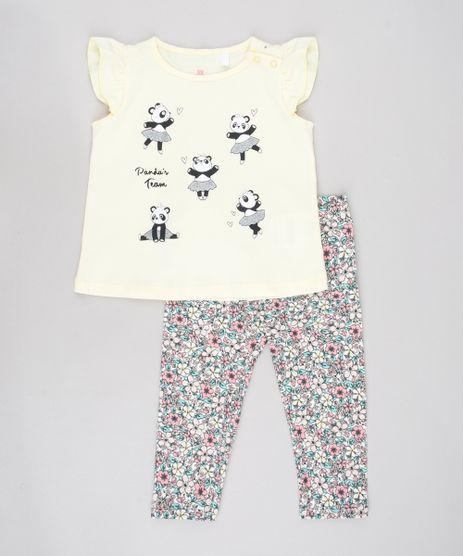 Conjunto-Infantil-de-Blusa-Panda-Sem-Manga-Amarela---Calca-Legging-Estampada-Floral-Off-White-9579055-Off_White_1