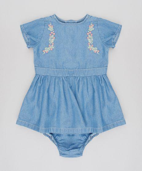 Vestido-Jeans-Infantil-com-Bordado-Floral-Manga-Curta-Azul-Medio-9588557-Azul_Medio_1