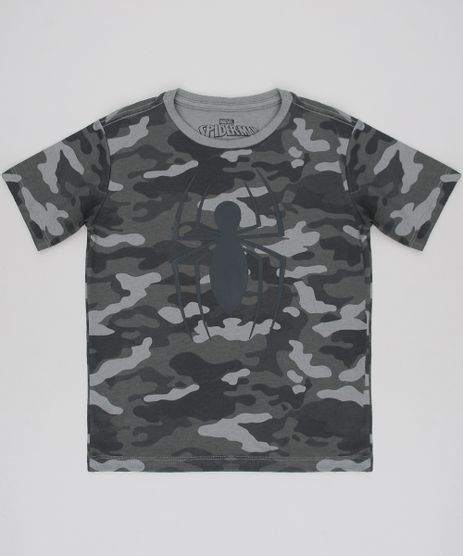 Camiseta-Infantil-Homem-Aranha-Estampada-Emborrachada-Manga-Curta-Verde-Militar-9621737-Verde_Militar_1