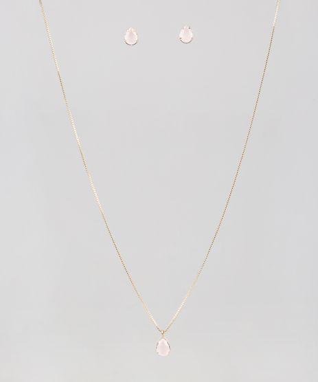 Kit-de-Brinco---Colar-Feminino-Folheados-com-Pedra-Zirconia-Dourado-9544846-Dourado_1