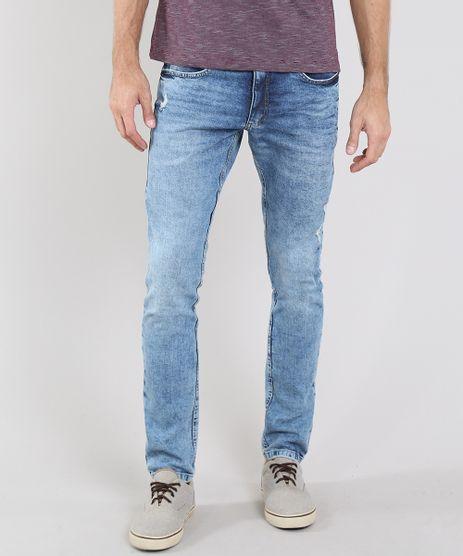 Calca-Jeans-Masculina-Slim-com-Puidos-e-Bolsos-Azul-Medio-9531394-Azul_Medio_1