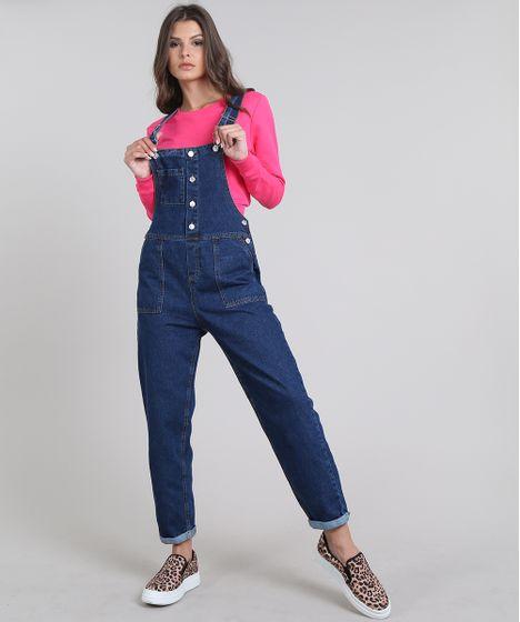 5b79dcb78 Macacao-Jeans-Feminino-com-Bolsos-Azul-Escuro-9639709- ...