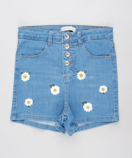 Short-Jeans-Infantil-Hot-Pants-com-Bordado-Floral-Azul-Claro-9615009-Azul_Claro_1