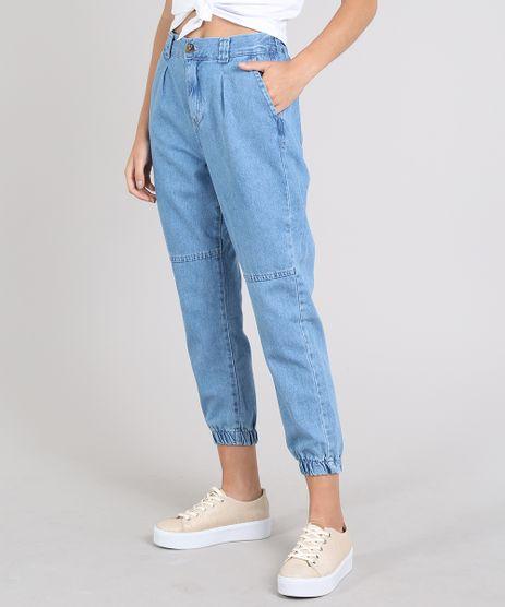 Calca-Jeans-Feminina-Jogger-com-Bolsos-Azul-Medio-9594591-Azul_Medio_1