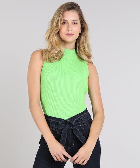 Regata-Feminina-Canelada-em-Trico-Gola-Alta-Verde-Neon-9502153-Verde_Neon_1