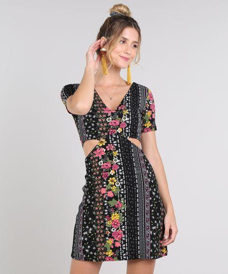 Vestido-Feminino-Curto-Estampado-Floral-com-Vazados-Manga-Curta-Preto-9609765-Preto_1