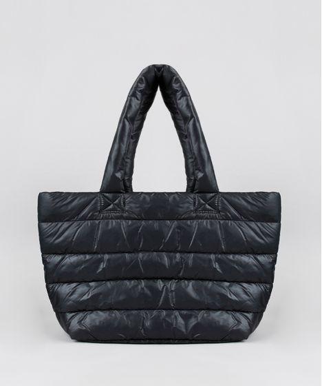 b76247e471 Bolsa Feminina Shoulder Grande Puffer Preta - cea