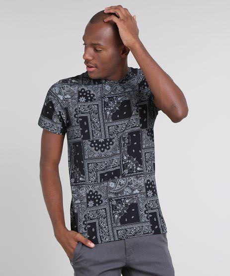 Camiseta-Masculina-Slim-Fit-Estampada-de-Bandana-Manga-Curta-Gola-Careca-Preta-9662885-Preto_1